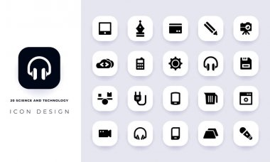 Minimal flat science and technology icon pack. In this pack incorporate with twenty different science and technology icon. icon