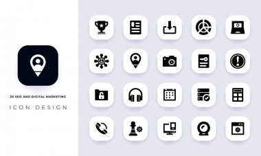Minimal flat seo and digital marketing icon pack. In this pack incorporate with twenty different seo and digital marketing icon. icon