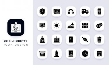 Minimal flat silhouette icon pack. In this pack incorporate with twenty different silhouette icon. icon