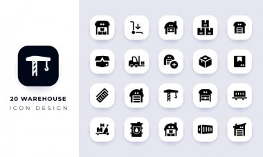 Minimal flat warehouse icon pack. In this pack incorporate with twenty different warehouse icon. icon