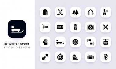 Minimal flat winter sport icon pack. In this pack incorporate with twenty different winter sport icon. icon