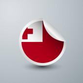 Tonga-Flagge mit Aufkleber-Design isoliert auf weißem Hintergrund. Vektor-Illustration für Etikett, rundes Etikett und Werbedesign