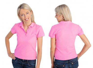 Woman wearing pink polo shirt, front and back views
