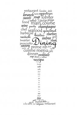 Food and dining concept on a wine glass shaped word collage