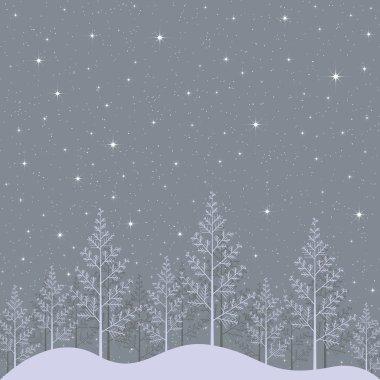 Starry winter night landscape illustration