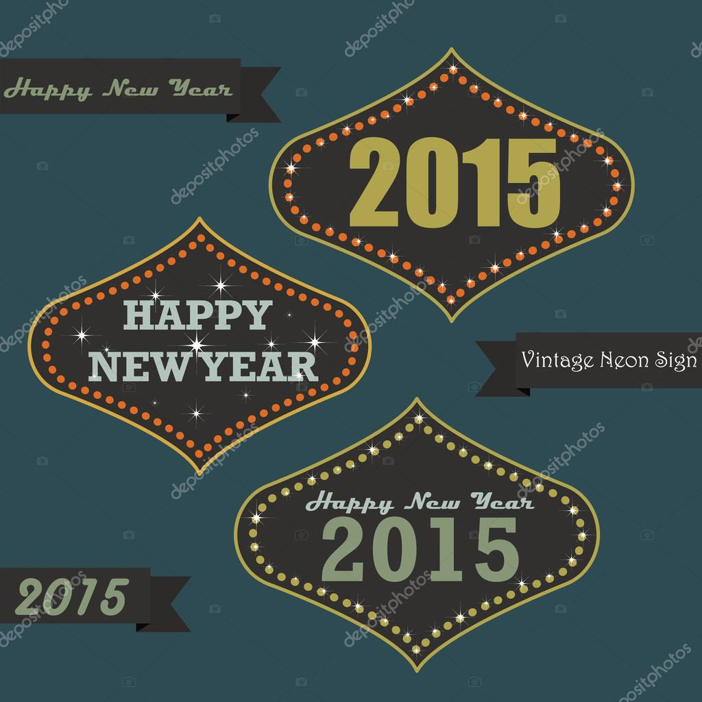 vintage new year on neon sign board stock vector