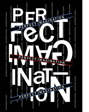 Design vector typography PERFECT IMAGINATION with color black red white and blue clip art vector