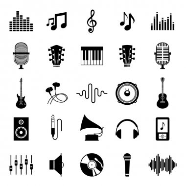 Set of vector music icons. Music icons for audio store, recording studio label, podcast and radio station, branding and identity. stock vector