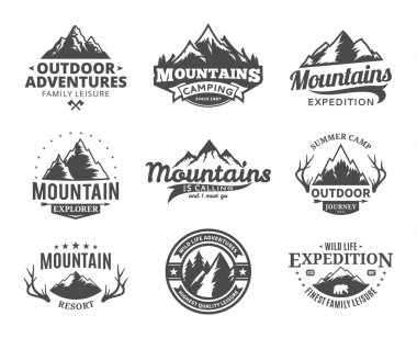 Set of vector mountain and outdoor adventures logo
