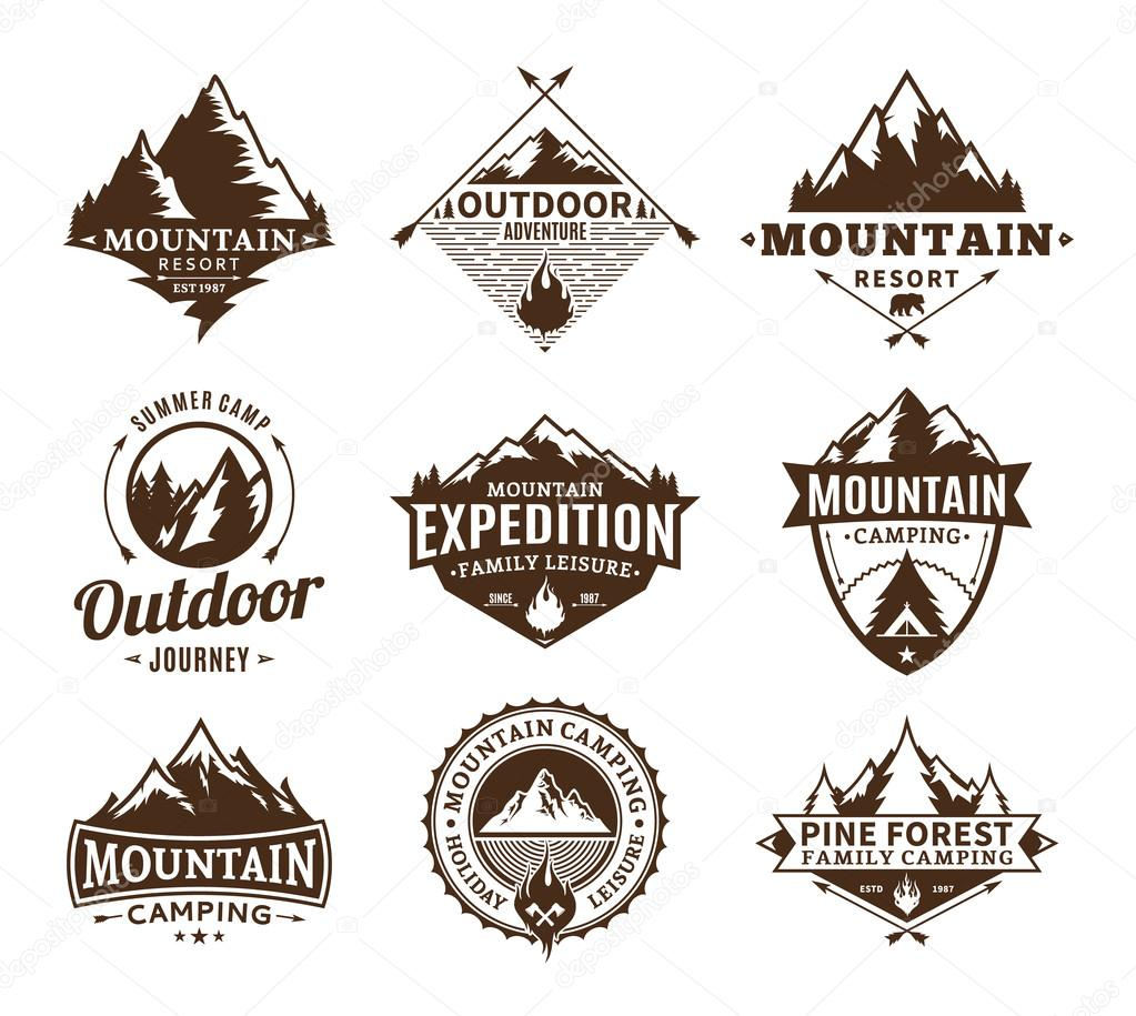Set of camping and outdoor activity logo