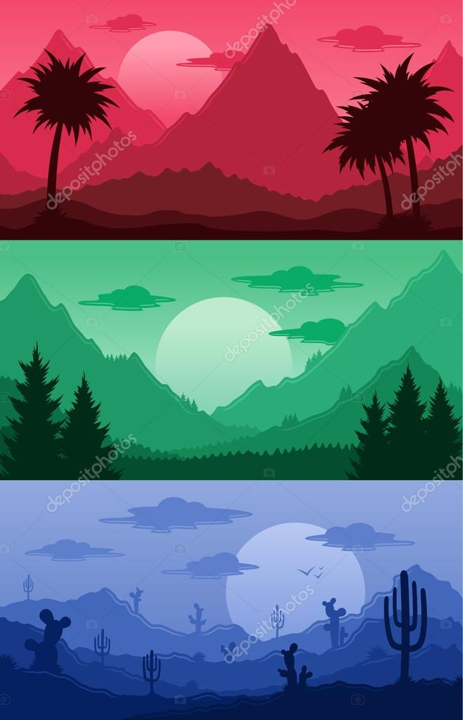 Mountains, tropical and desert landscapes vector illustration