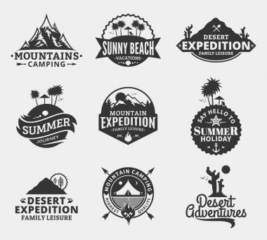 Set of vector summer, mountain and outdoor adventures logo. Tourism, hiking and camping labels. Mountains and travel icons for tourism organizations, outdoor events and summer leisure stock vector