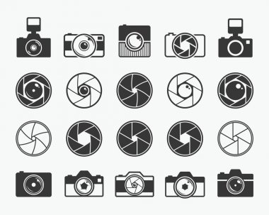 Camera shutter, lenses and photo camera icons