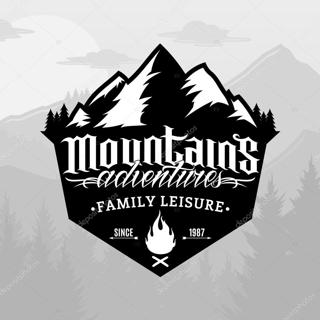 Vector mountain and outdoor adventures logo