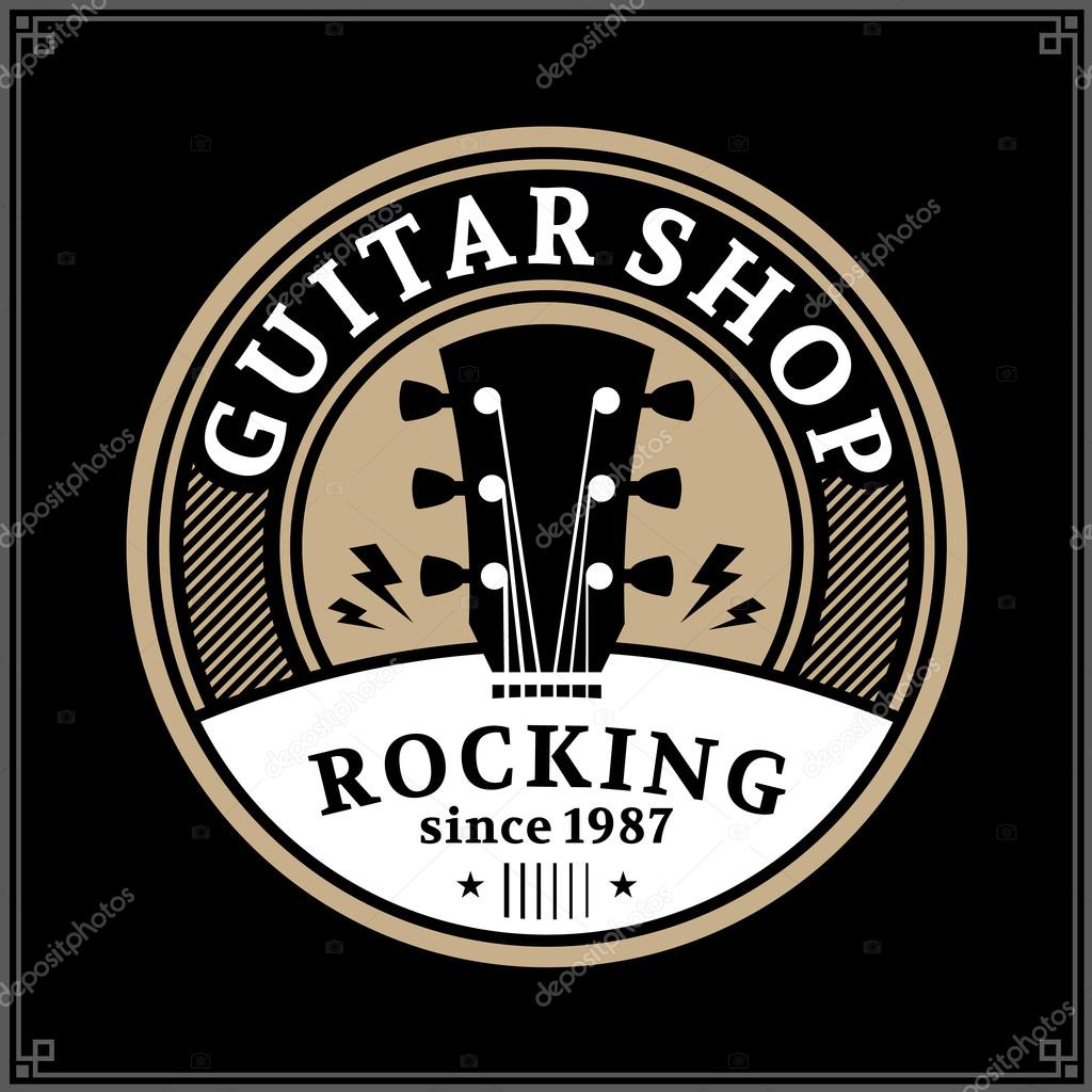 Vector Guitar Shop Logo Music Icon For Audio Store Branding Poster Or T Shirt By Counterfeit