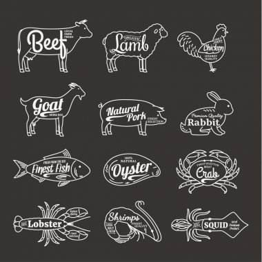 Butchery and Seafood Shop Logo. Vector Farm Animals and Seafood