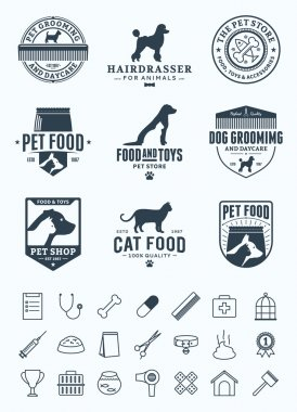 Set of vector pet logo, icons and design elements