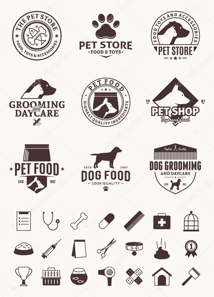Stock Illustration Set Of Vector Pet Logo on Veterinary Clinic Design
