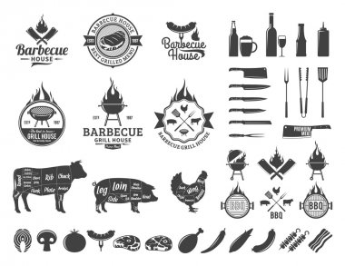 Barbecue logo and labels. BBQ, meat, vegetables, beer, wine and equipment icons for cafe, bar and restaurant menu, brandign and identity. stock vector