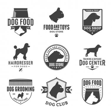 Set of vector dog logo and design elements