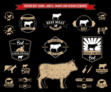 Vector Beef Logos, Labels, Charts and Design Elements