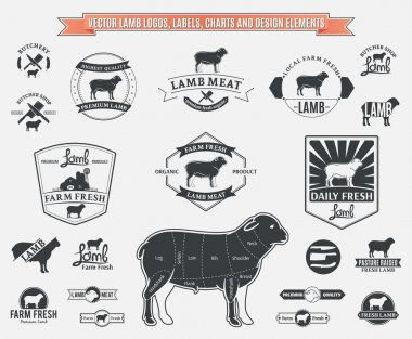 Vector Lamb Logos, Labels, Charts and Design Elements