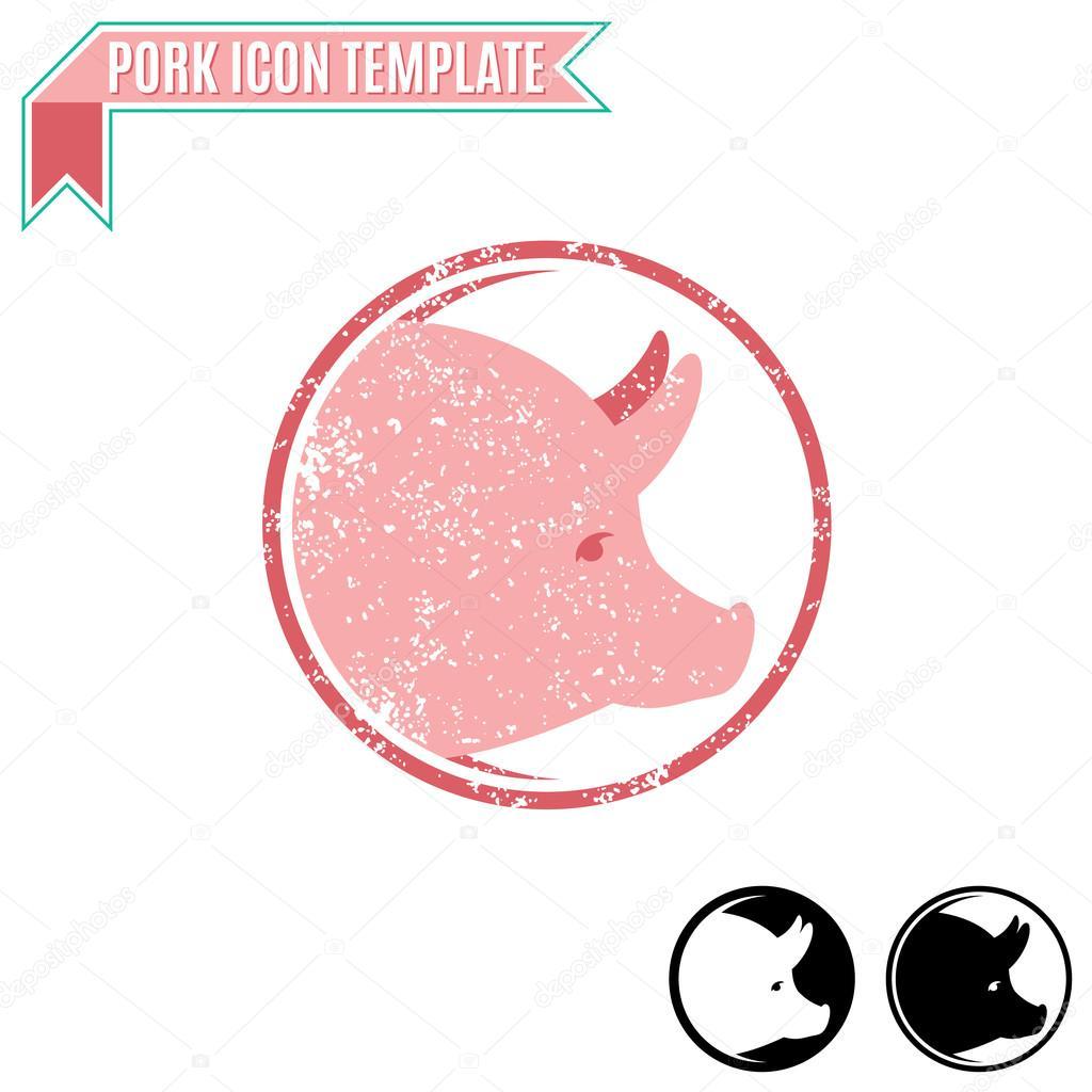 Carne de cerdo insignia, símbolo del comercio, icono plantilla ...