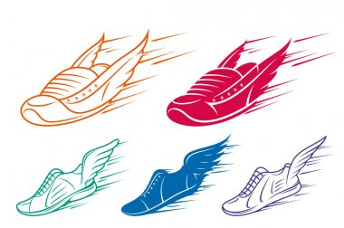 Running shoe icons with speed and motion trails