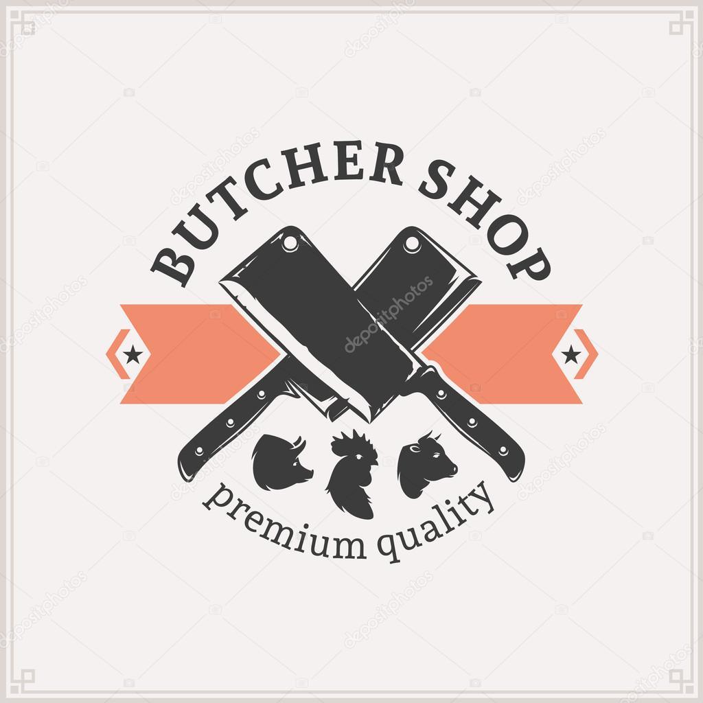 Butcher Shop Logo , Meat Label