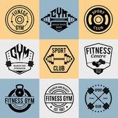Fotografia Vector Fitness e palestra loghi, modelli di etichette e distintivi atletici