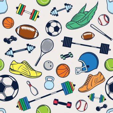 Vector Sport Equipment Color Background, Seamless, Pattern, Icons