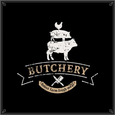 Retro Styled Butcher Shop Logo, Meat Label Template, Farm Animals Silhouettes
