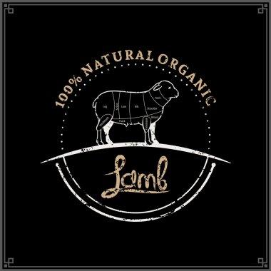 Retro Styled Butcher Shop Logo, Meat Label Template, Lamb Cuts Diagram