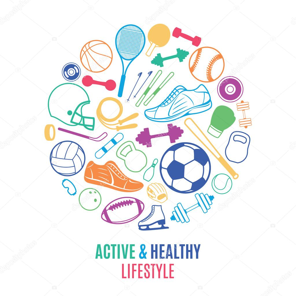 Sport Equipment, Healthy Lifestyle Pattern, Logo, Label Template