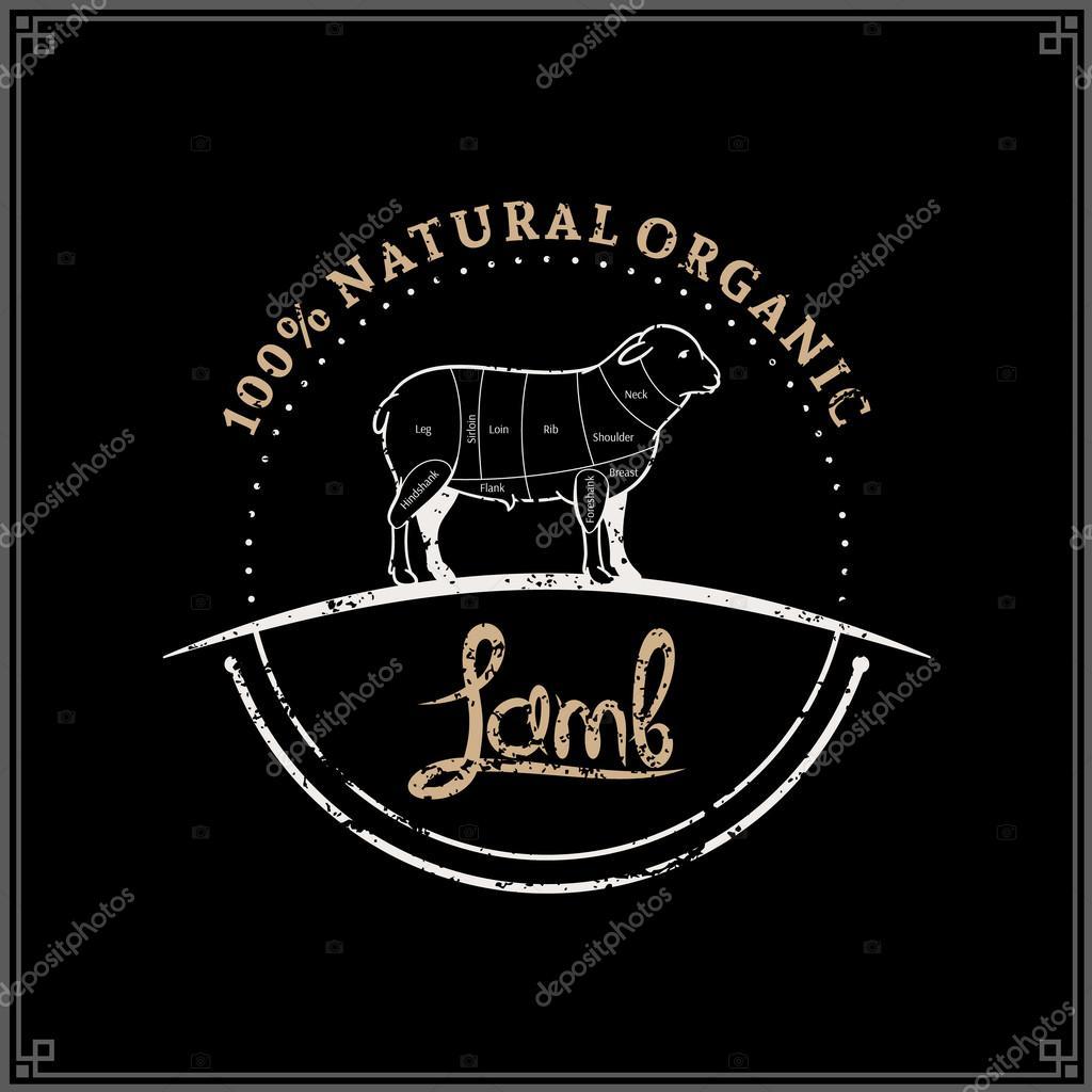 Retro estilo carnicero tienda insignia, plantilla de etiqueta de ...