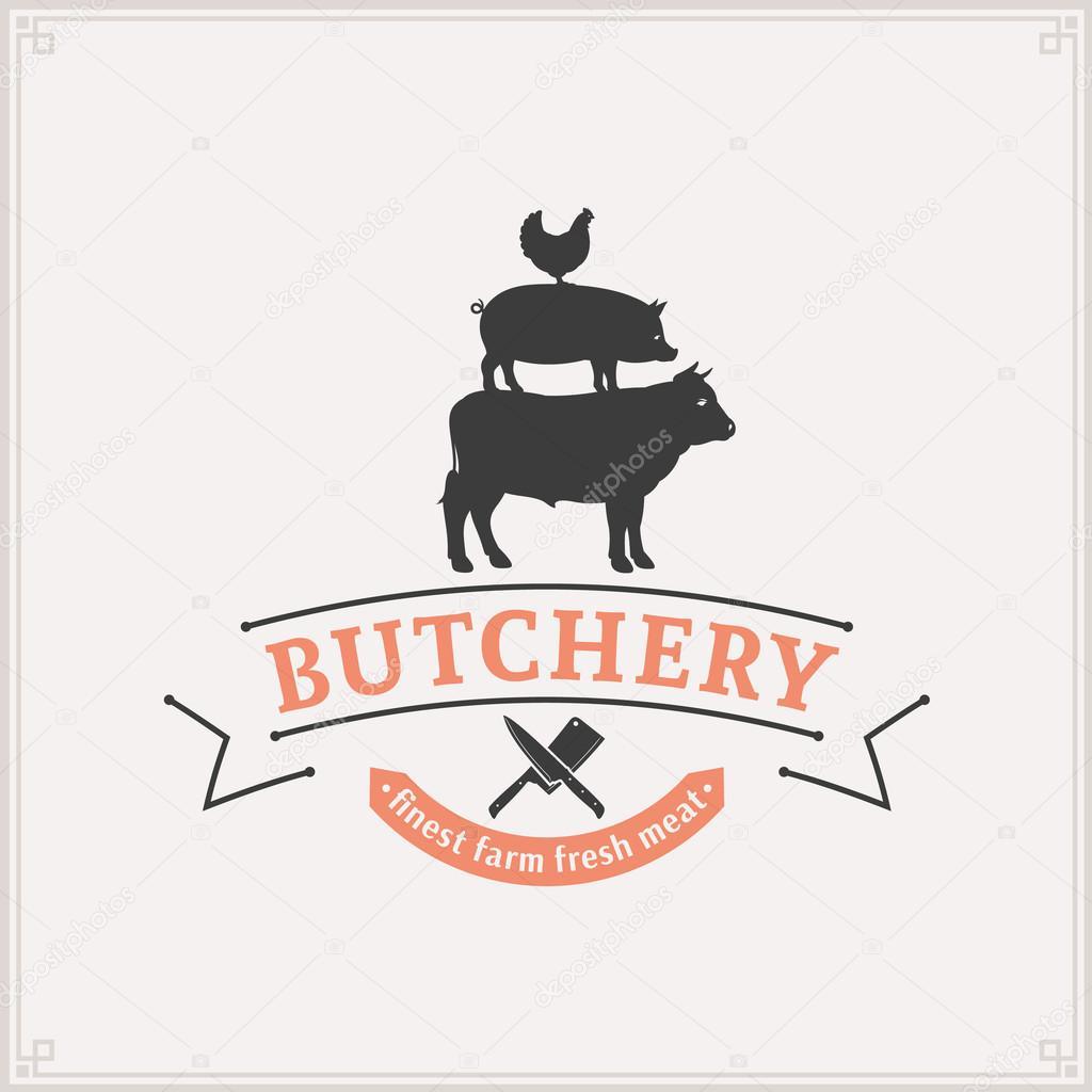 Logo del negozio di macelleria modello di etichetta di for Piani di fattoria di 2000 piedi quadrati