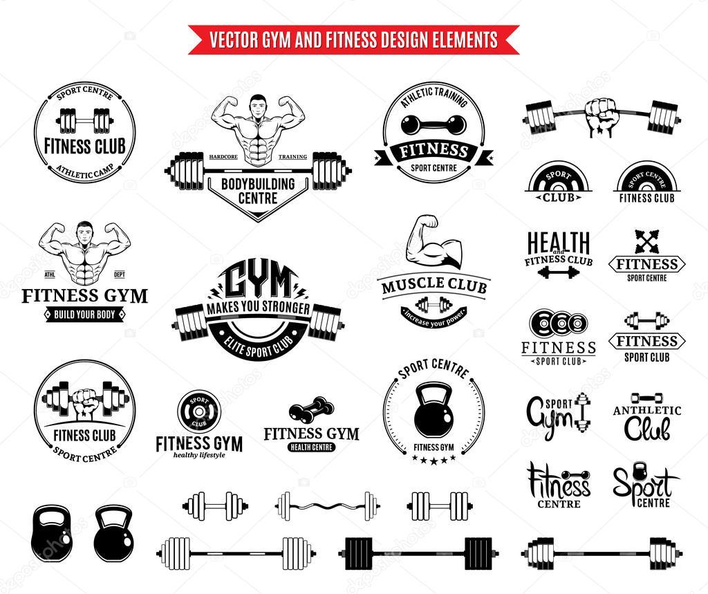 Sport und Fitness-Logo-Vorlagen, Gym-Logos und Design-Elemente ...