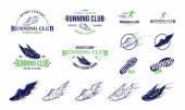 Fotografia Running Club Logo, etichette, icone ed elementi di Design