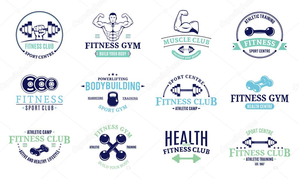 fitness gym labels templates badges fitness equipment icons and