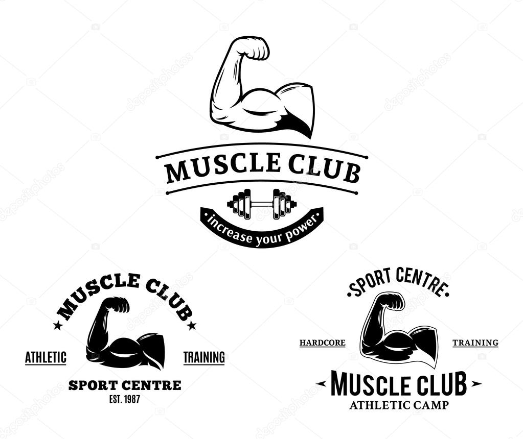 Sport club and fitness gym logos and emblems stock for Club piscine sport fitness