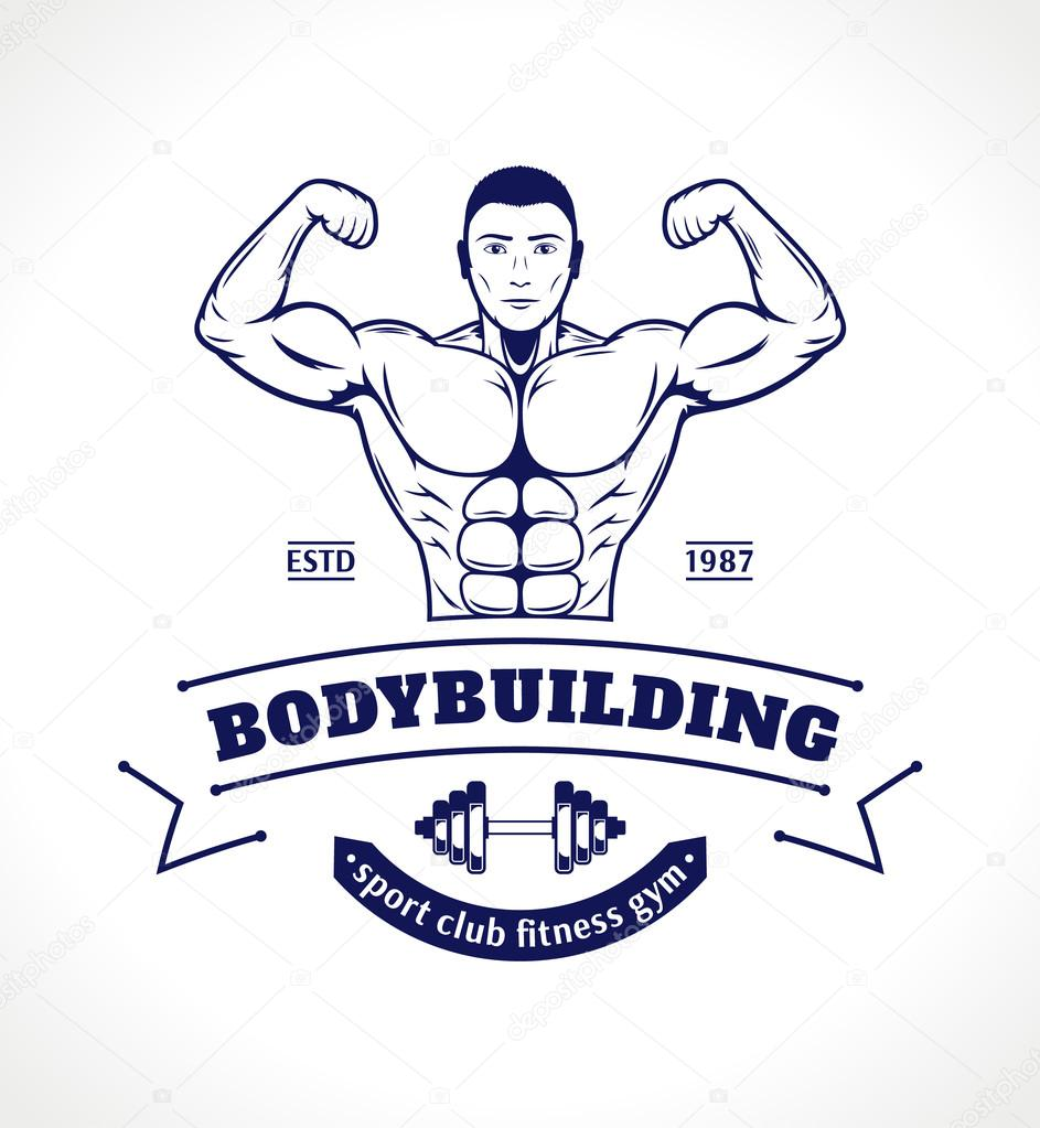 Sport Fitness Logo, Gym Label Template with Bodybuilder
