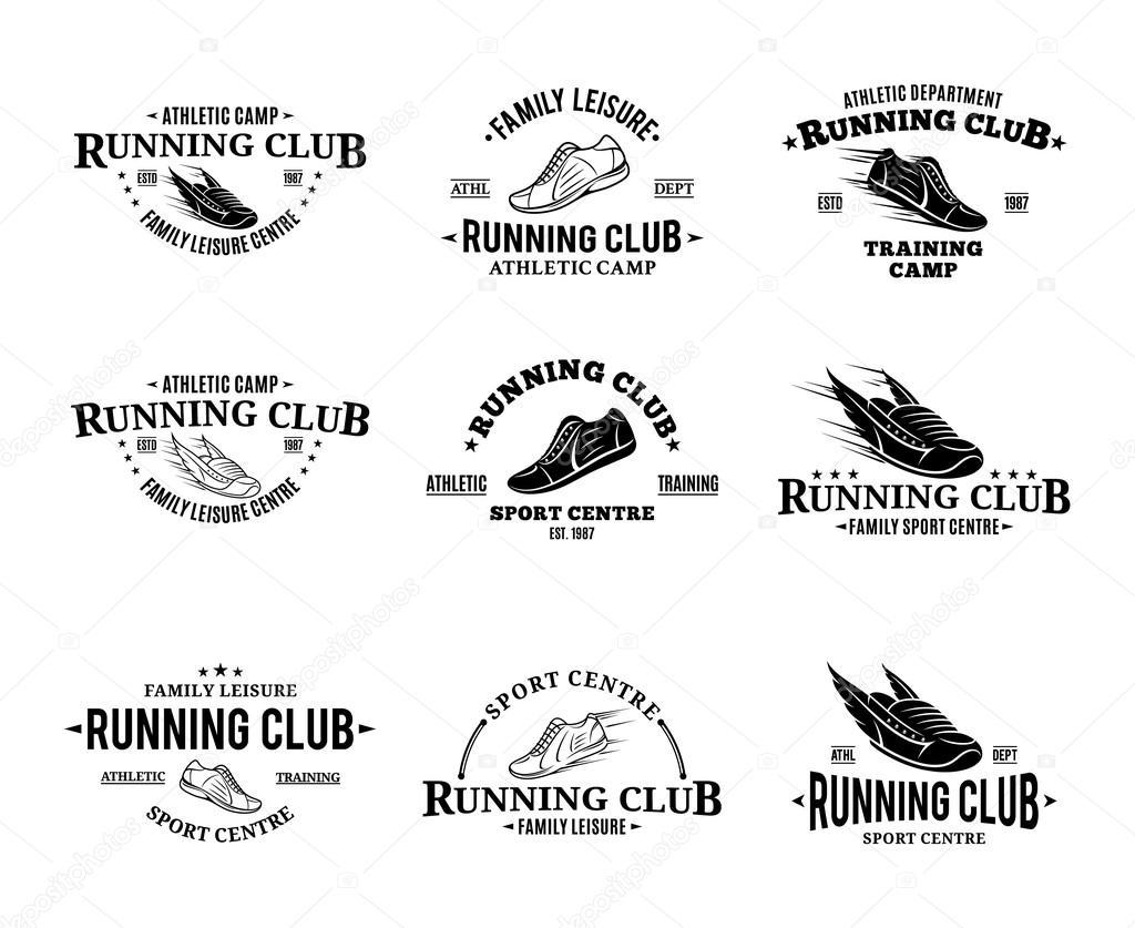 Laufenden Club Logo, Etiketten Vorlagen und Abzeichen — Stockvektor ...