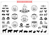 Butchery Logos, Labels, Charts and Design Elements