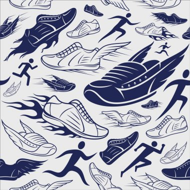 Sport Shoes, Running Man Background, Seamles Pattern, Sport Icons