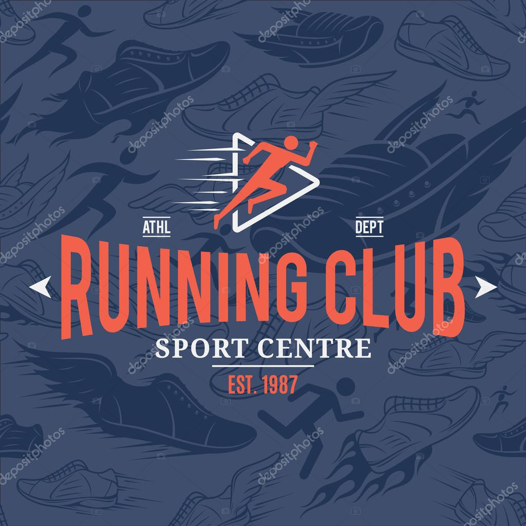 Running Club Logo Template Over Running Shoes Seamless Pattern