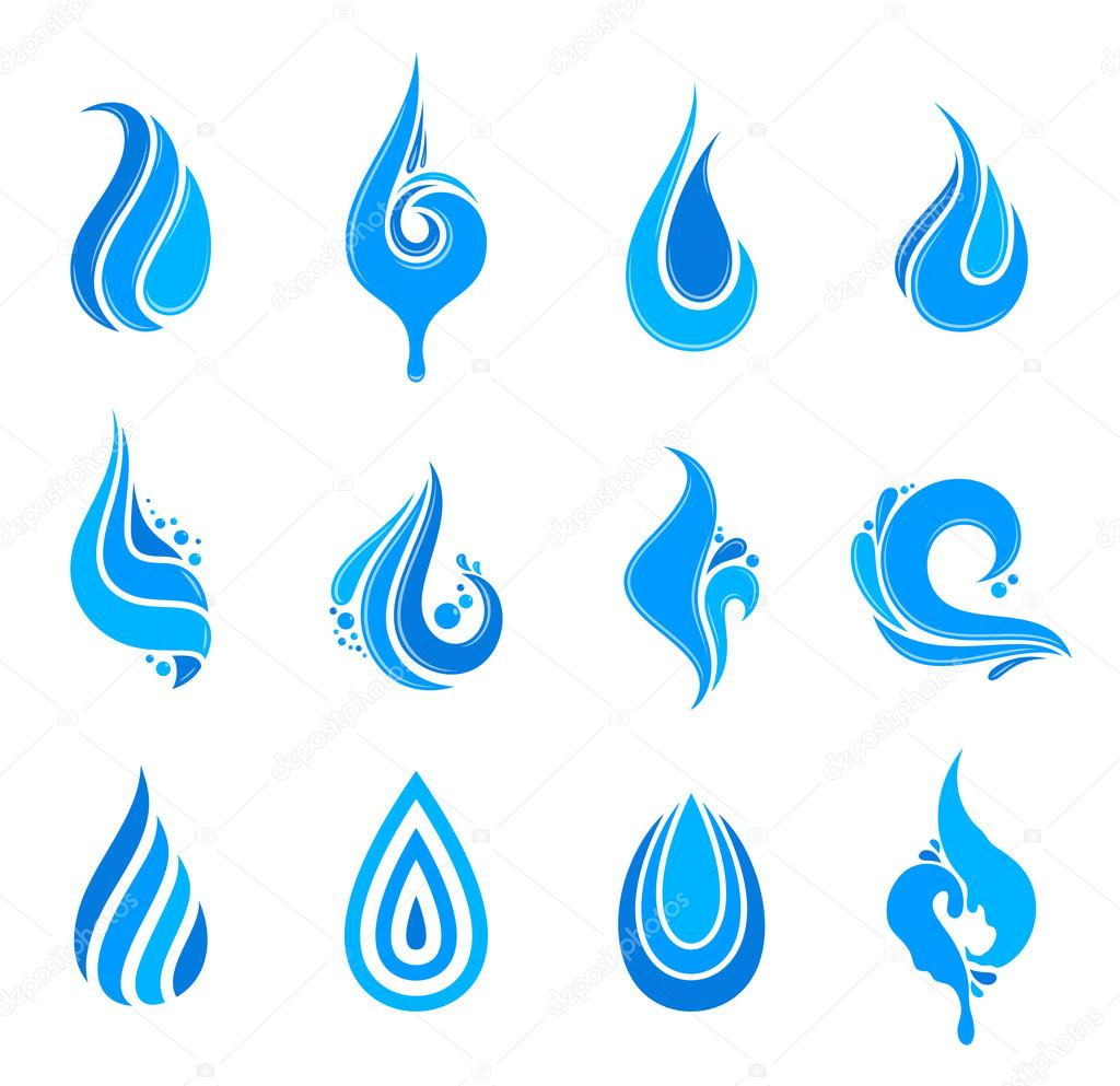 Water Drops, Icons and Design Elements
