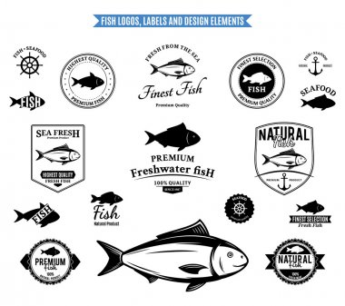 Lots of vector fish design elements for your work: labels, badges, emblems and icons. stock vector