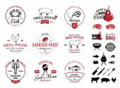 Fényképek Barbecue, Seafood Logos, Labels and Design Elements