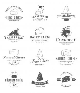 Set of Vector Cheese Labels and Design Elements