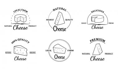 Vector cheese logo, label templates, badges, emblems and icons stock vector
